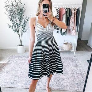 CALVIN KLEIN B&W Striped Fit & Flare Dress